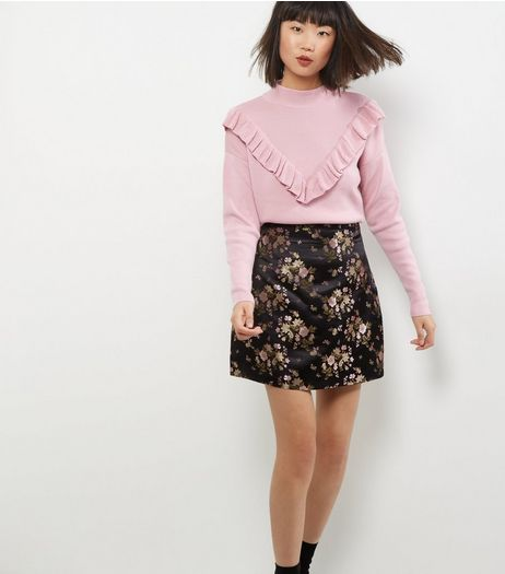 Black Floral Print Jacquard A-Line Skirt  | New Look