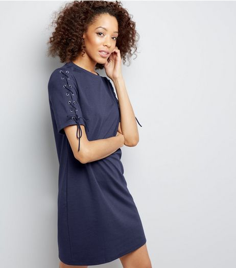 Navy Lace Up Sleeve Tunic Dress | New Look