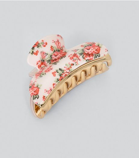 Pink Floral Bulldog Clip | New Look