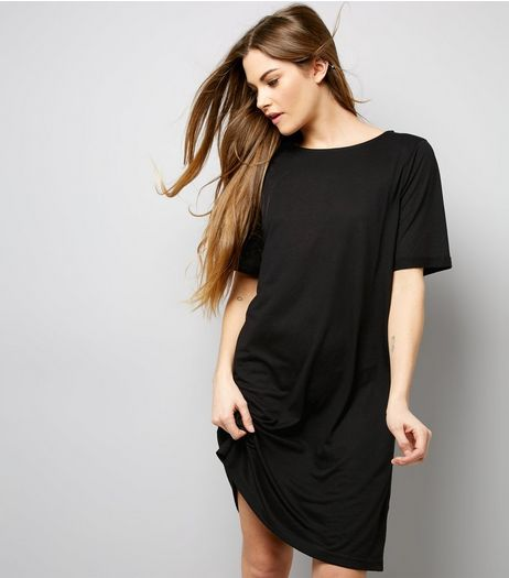Black Jersey Basic Short Sleeve T-Shirt Dress  | New Look