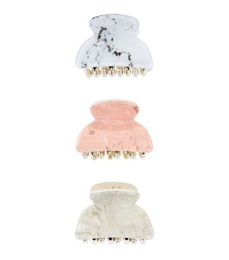 3 Pack Pink Stone and White Marble Print Bulldog Clips  | New Look