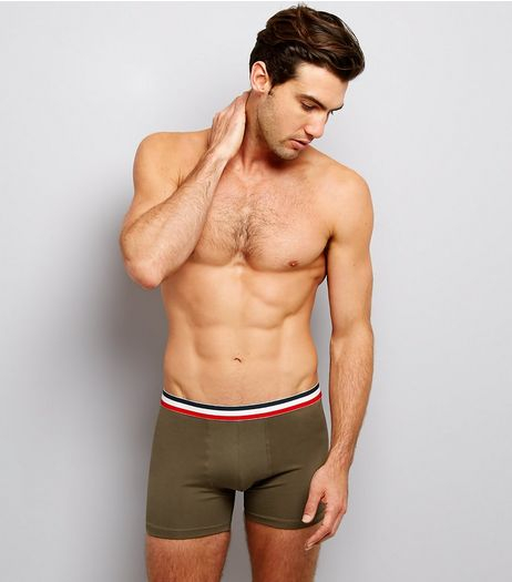 3 Pack Navy Khaki and Grey Contrast Stripe Boxer Briefs | New Look