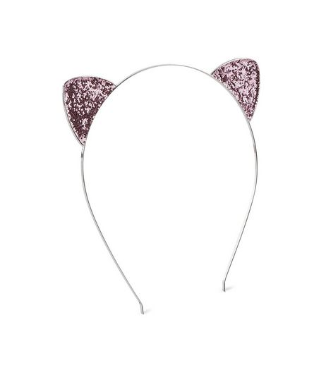 Pink Glitter Cat Ears Headband | New Look