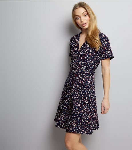 Blue Floral Button Front Tea Dress | New Look