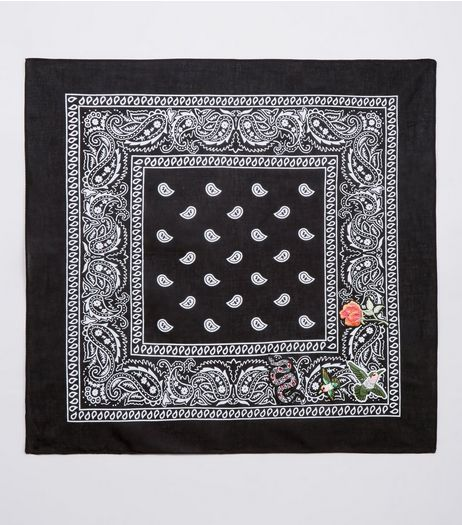 Black Paisley Print Embroidered Badge Bandana | New Look