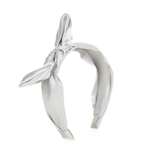 Dark Grey Sateen Bow Front Hairband  | New Look