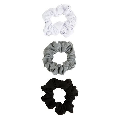 3 Pack White Grey and Black Basic Scrunchies | New Look