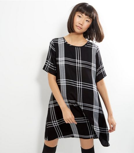 Apricot Black Monochrome Check Shift Dress | New Look