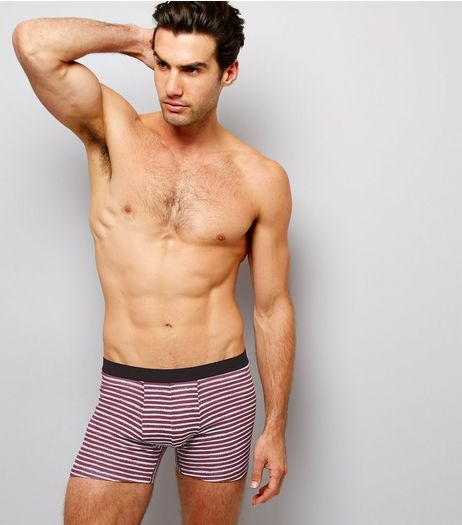 3 Pack Burgundy Zig Zag Stripes Boxer Briefs | New Look