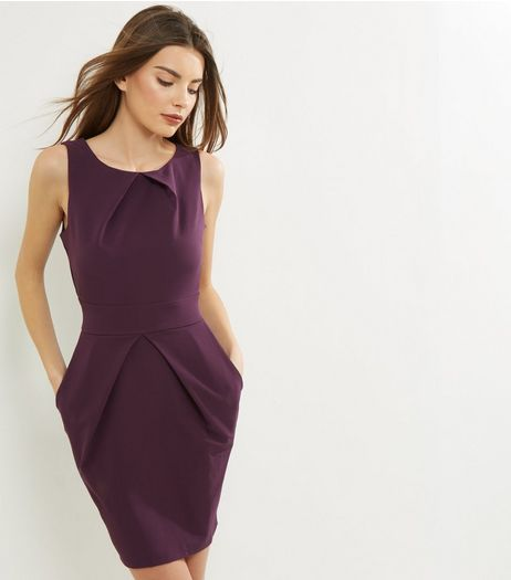 Apricot Purple Pleated Tulip Dress | New Look