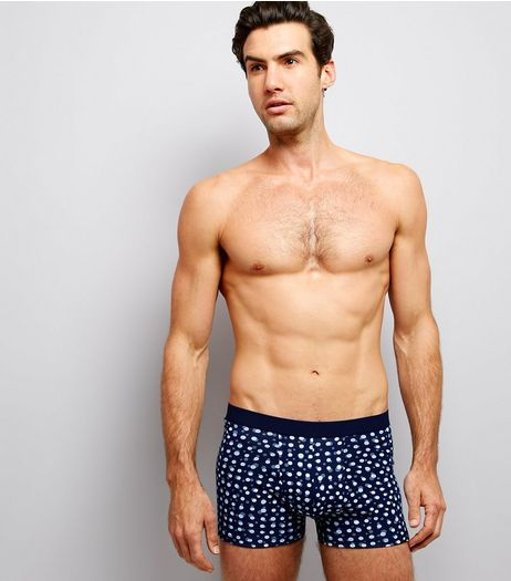 3 Pack Navy Multi Print Boxer Briefs | New Look