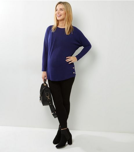 Maternity Navy Side Popper Jumper | New Look