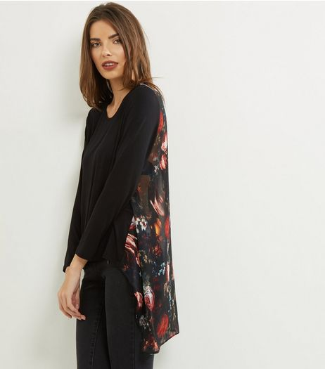 Apricot Black Floral Print Panel Jumper  | New Look