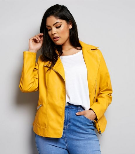 Curves Yellow Leather-Look Biker Jacket | New Look