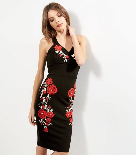 Cameo Rose Black Floral Embroidered Dress | New Look