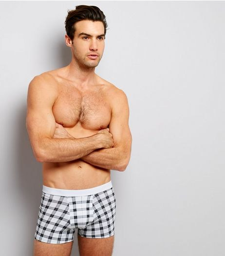 3 Pack Burgundy Check Print Trunks | New Look