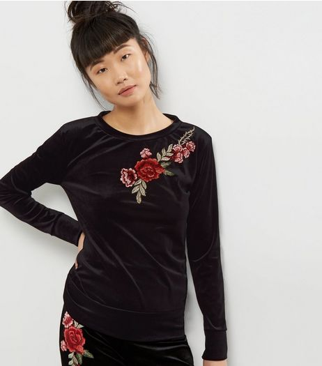 Cameo Rose Black Floral Embroidered Jumper  | New Look
