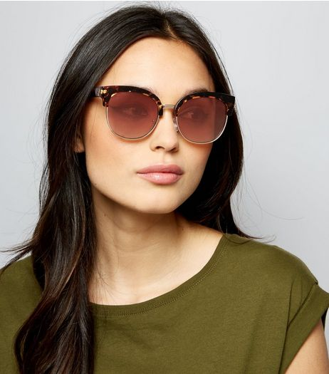 Brown Tortoiseshell Metal Trim Sunglasses | New Look