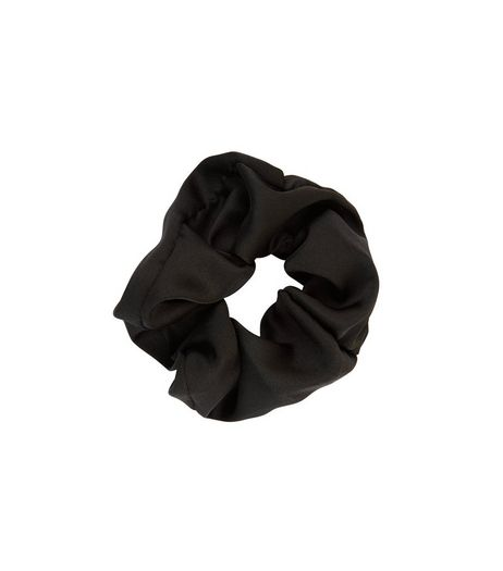 Black Sateen Scrunchie | New Look