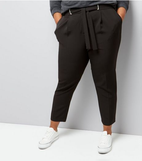 Curves Black Tie Waist Trousers | New Look