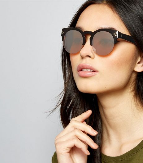 Black Pin Stud Detail Retro Sunglasses | New Look