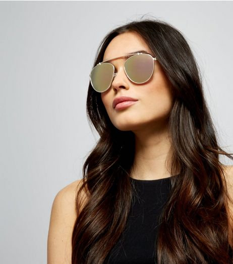 Gold Mirror Lens Pilot Sunglasses | New Look