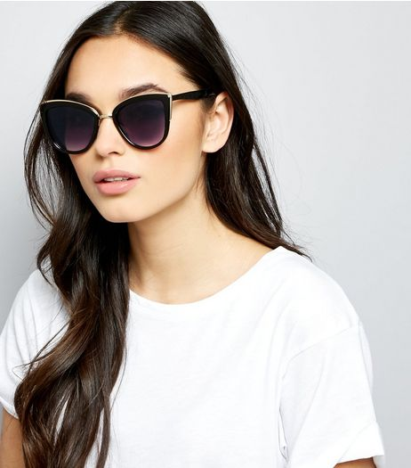 Black Metal Trim Cat Eye Sunglasses | New Look