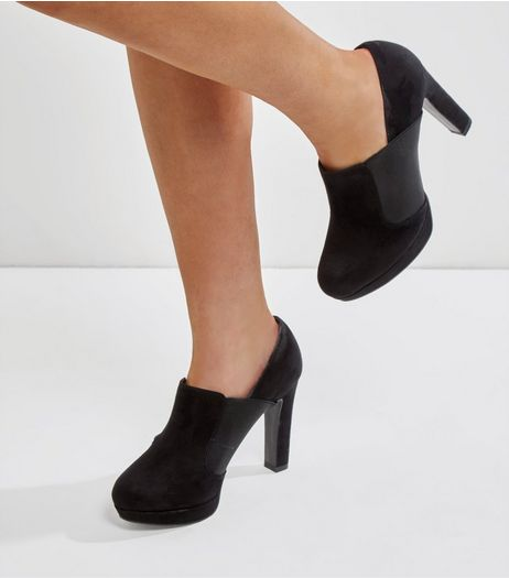 Wide Fit Black Elasticated Side Shoe Boots | New Look