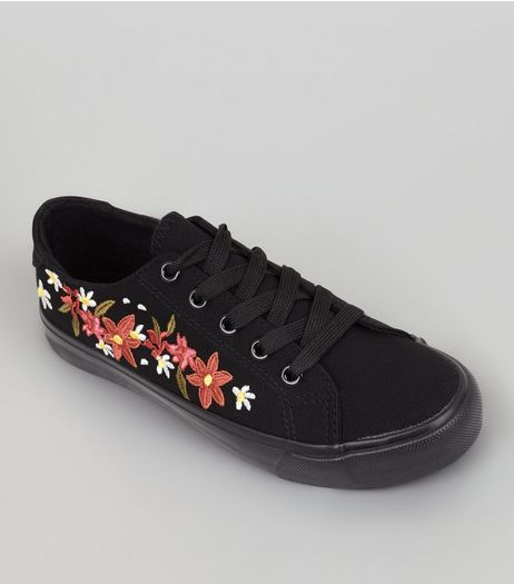 Teens Black Canvas Floral Embroidered Trainers | New Look