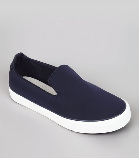 Teens Navy Neoprene Slip On Trainers | New Look
