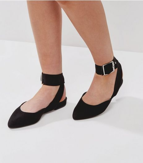 Wide Fit Black Suedette Buckle Strap Pointed Pumps | New Look