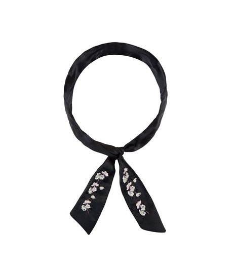 Black Sateen Floral Embroidered Necktie | New Look