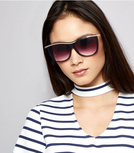 Black Metal Bar Sunglasses | New Look