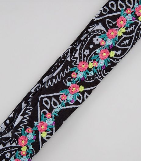 Black Paisley Print Floral Embroidered Bandana | New Look