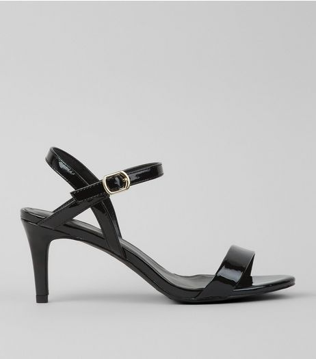 Black Patent Ankle Strap Sandals | New Look