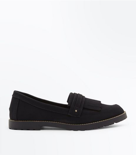 Black Fringe Front Loafers | New Look