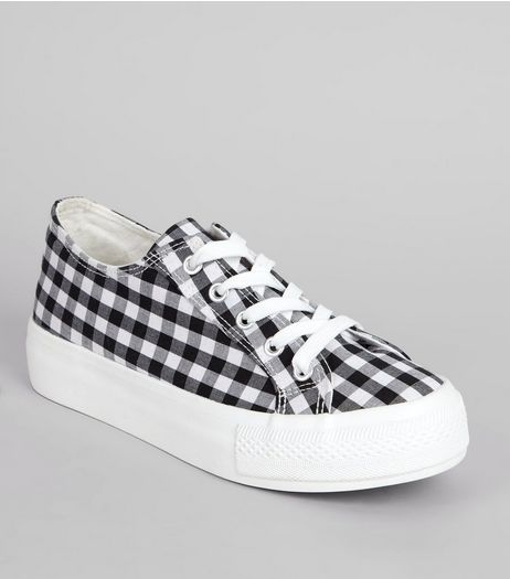 Black Gingham Flatfrom Trainers | New Look