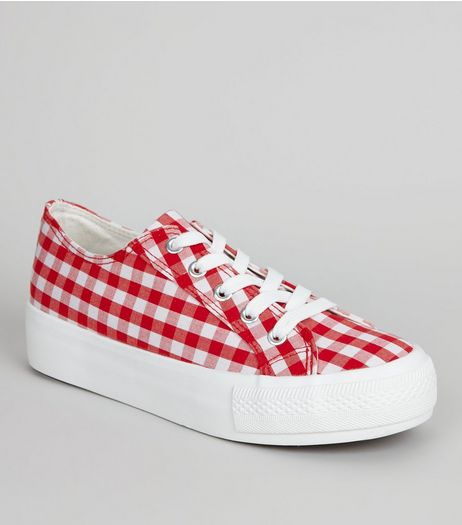 Red Gingham Flatfrom Trainers | New Look