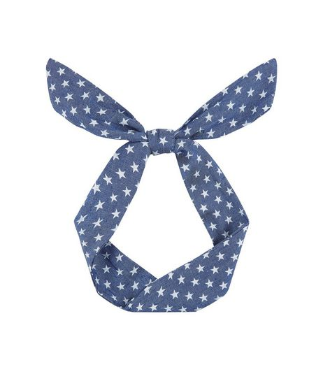 Blue Star Print Denim Necktie  | New Look