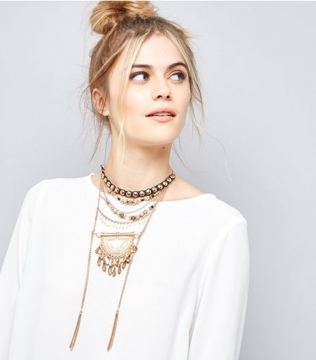 Gold Layered Tassel Beaded Necklace | New Look