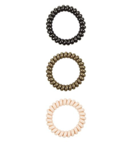 3 Pack Khaki Cream and Black Spiral Bobbles | New Look