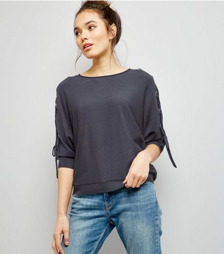 Dark Grey Batwing Lattice Sleeve Jumper  | New Look