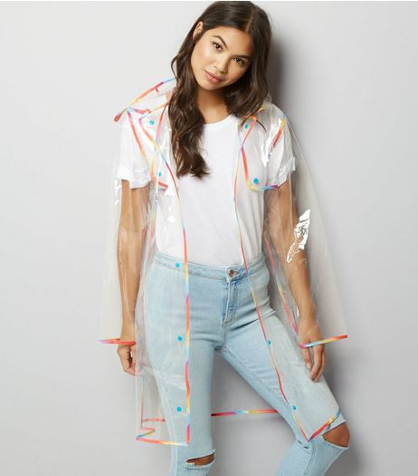Multicoloured Clear Hooded Anorak  | New Look
