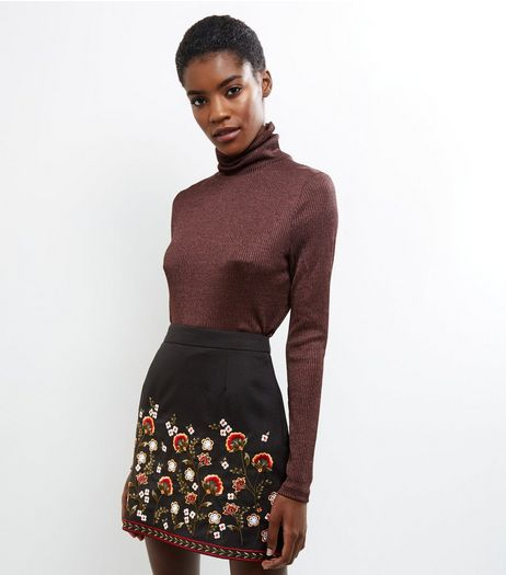 Black Floral Embroidered Hem Mini A-line Skirt  | New Look