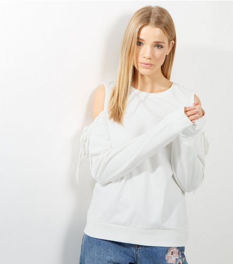 Cream Drawstring Cold Shoulder Sweater | New Look