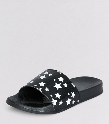 Teens Black Star Print Sliders | New Look