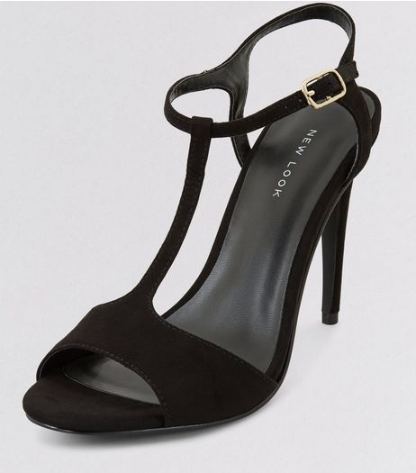 Black Suedette T-Bar Heels | New Look