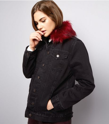Black Borg Lined Faux Fur Denim Jacket  | New Look
