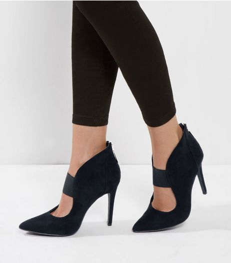 Black Suedette Elastic Strap Shoe Boot | New Look