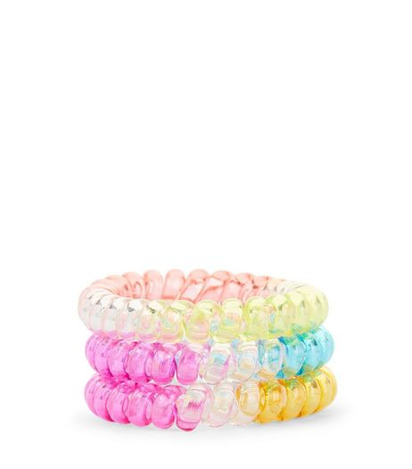3 Pack Multicoloured Spiral Bobbles  | New Look